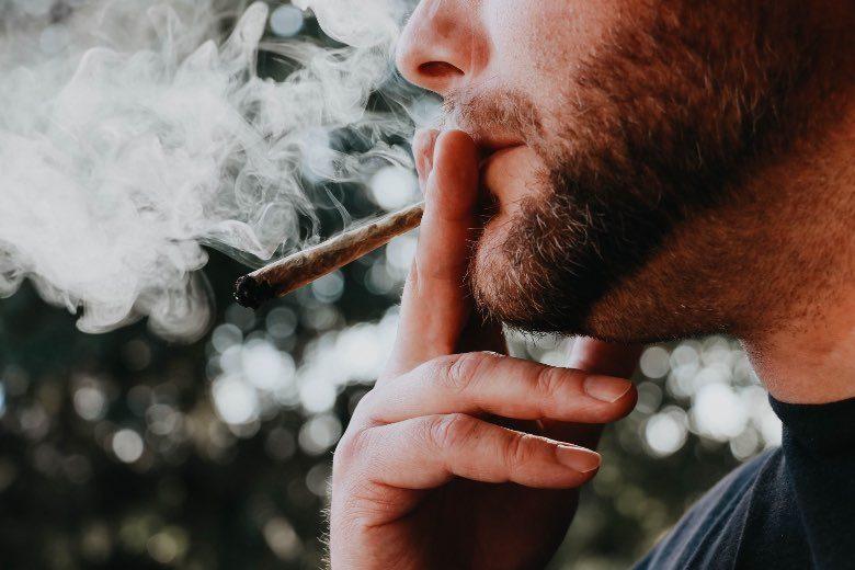 Person, die vor einer Panikattacke ein Stück Unkraut raucht