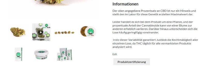 THC-Wert-Zertifizierung für Justbob-Produkte